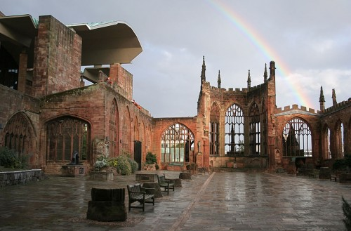 Coventry Cathedral with rainbow in the background