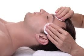 mens enjoying a facial